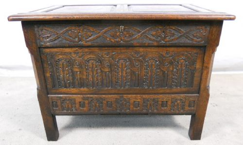 Antique Jacobean Style Carved Oak Small Blanket Chest - SOLD